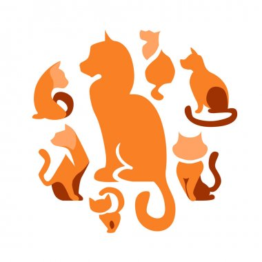Abstract circle made of different abstract symbols.  Different cats in round shape. Set with different abstract trendy symbols. Illustration for branding projects and pet shops. icon
