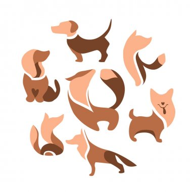Abstract circle made of different abstract symbols.  Different dogs in round shape. Set with different abstract trendy symbols. Illustration for branding projects and pet shops. icon