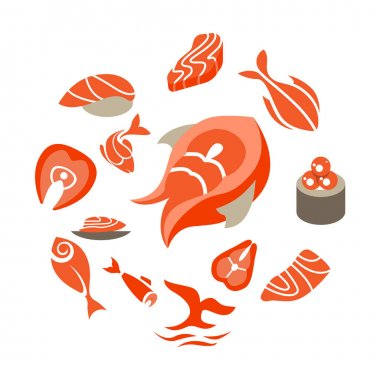 Abstract circle made of different abstract symbols. Different fish in round shape. Set with different abstract trendy symbols. Illustration for branding projects and food shops. icon