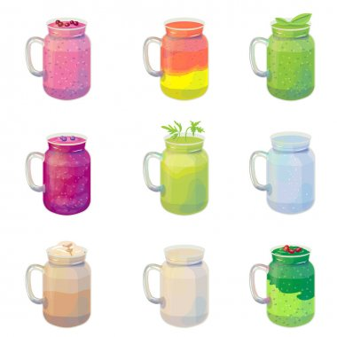 Traditional drink for diet and sport. Collection with different healthy smoothies isolated on white background.  Illustration can be used for restaurant and cafe menu and eco food projects. icon