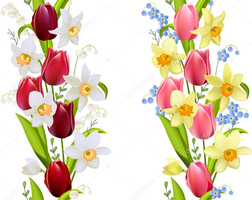 Two seamless borders with spring flowers