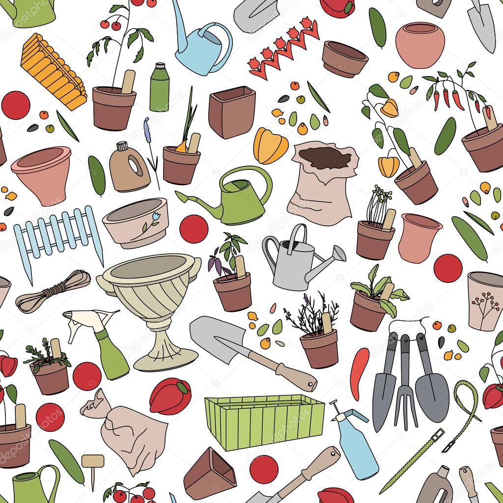 Seamless pattern with gardening tools, flower pots and vegetables
