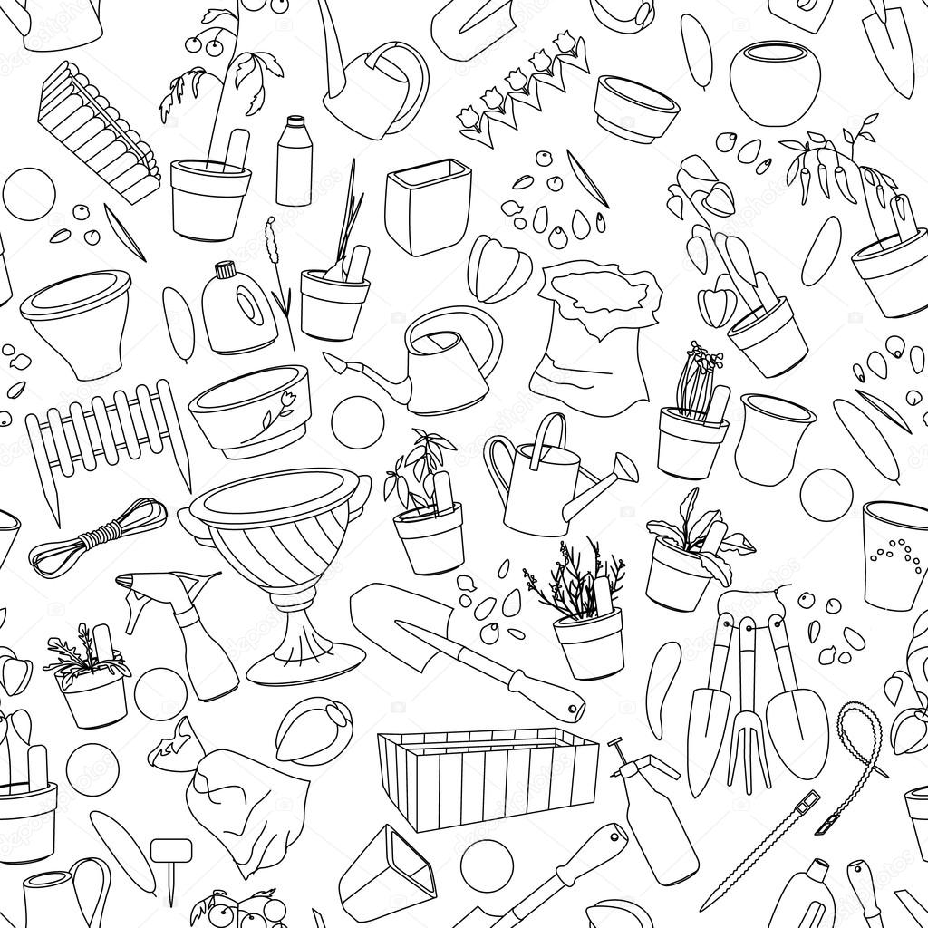 Seamless pattern with gardening tools, flower pots,herbs and vegetables.