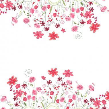 Detailed contour square frame with herbs, roses and wild flowers isolated on white. Greeting card for your design.