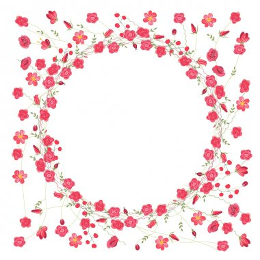 Detailed contour wreath with herbs, roses and wild flowers isolated on white. Round frame for your design