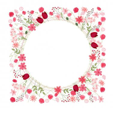 Detailed contour wreath with herbs, tulips and wild flowers isolated on white. Round frame for your design