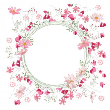 Detailed contour wreath with herbs, sweet peas and wild flowers isolated on white. Round frame for your design