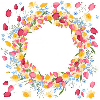 Detailed contour wreath withtulips and daffodils isolated on white.