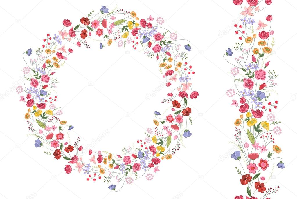 Detailed contour wreath with herbs and bright wild stylized flowers isolated on white.