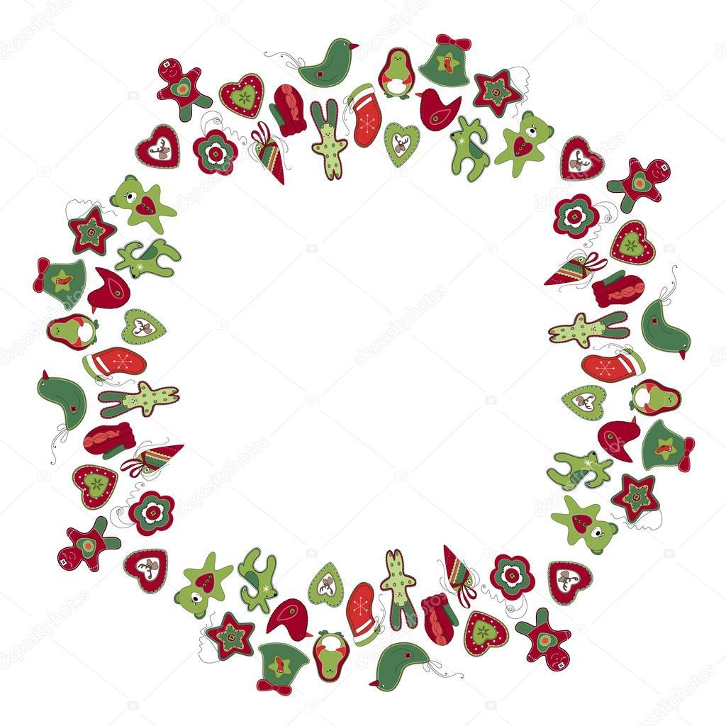Marco redondo con diferentes adornos de Navidad vintage. Guirnalda ...