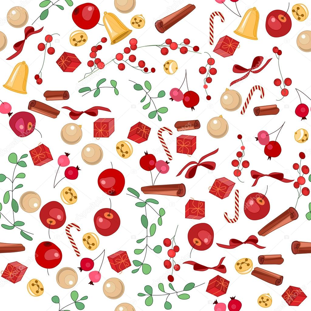 Seamless Christmas pattern with fruits, balls and gift boxes on white. Endless festive texture for design, announcements, postcards, posters.