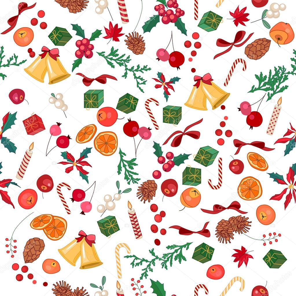 Seamless Christmas pattern with fruits, bells, berries and candies on white. Endless festive texture for design, announcements, postcards, posters.