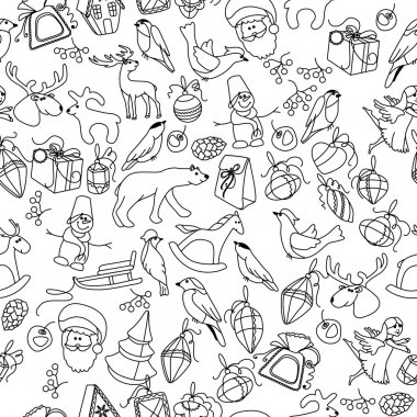 Seamless Christmas pattern with different black and white objects and animals. Endless festive texture for design, announcements, postcards, posters.