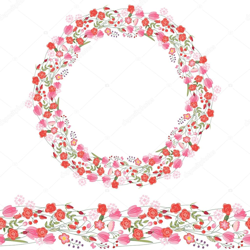 Round garland and seamless pattern brush with romantic pink flowers. For season design, announcements, postcards, posters.