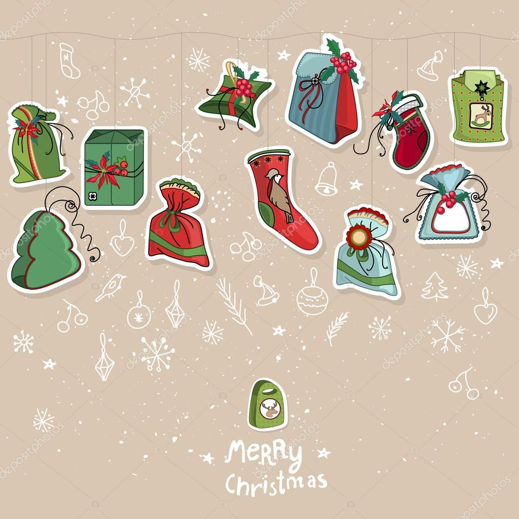 Template with hanging Christmas gifts. For festive design ...