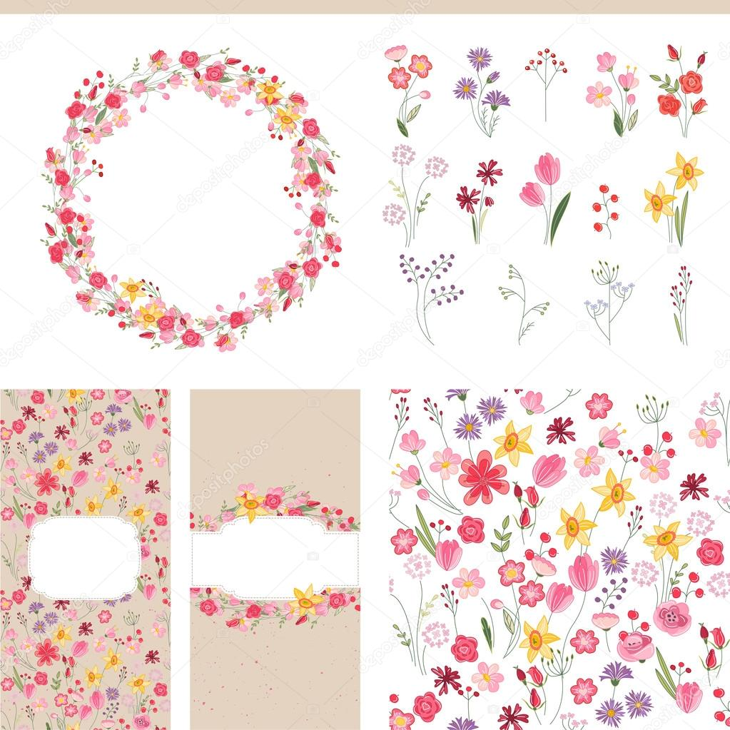 floral summer templates for romantic design announcements
