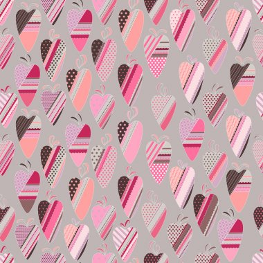 Seamless pattern with  vintage tilda hearts. Endless texture for design, announcements, postcards, posters.