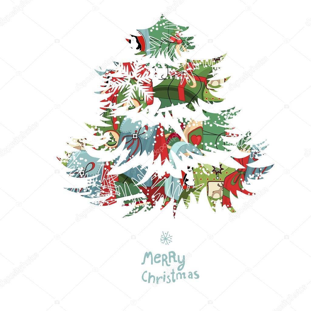 Rbol de navidad hecho de cajas de regalo cartel de - Arbol navidad diseno ...