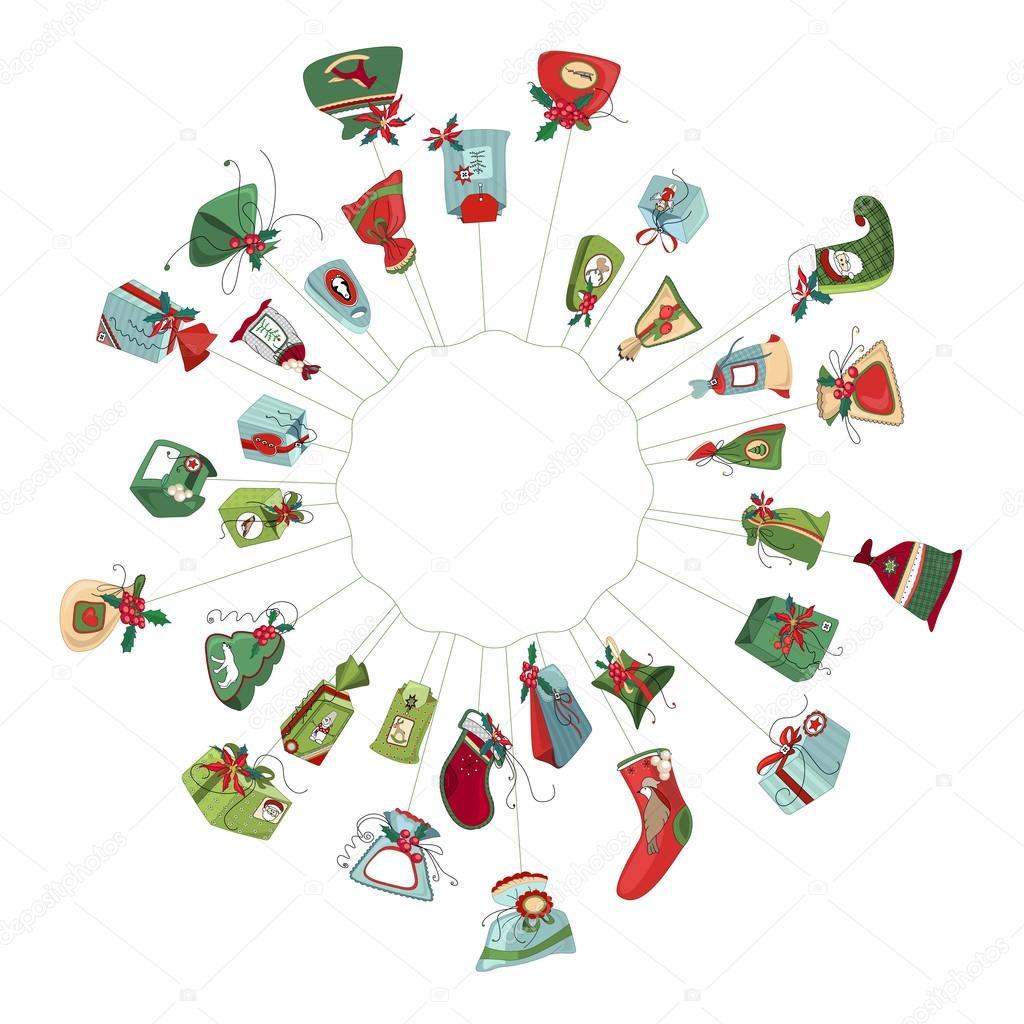 Runde Weihnachtskranz mit dekoration isoliert auf weiss. Einfache ...