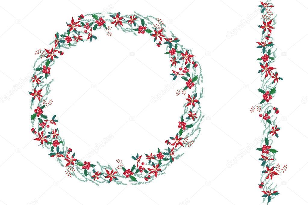 Guirnalda de la navidad redondo con flor de pascua aislado - Guirnalda de navidad ...