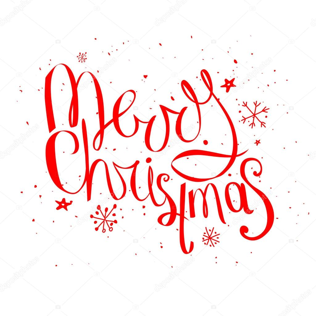 Merry christmas phrase isolated on white background — Archivo ...
