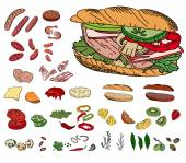 Fresh ingredients - vegetables, cheese, mushrooms, herbs and meat - for sandwich. Objects isolated on white. For your design, announcements, cards, posters, restaurant and cafe menu.