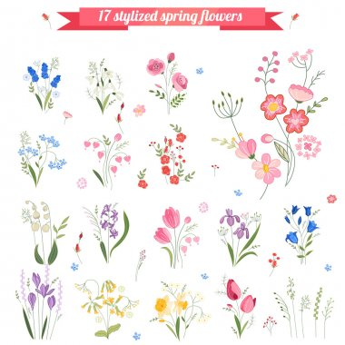 Collection of different stylized spring flowers.  Cute floral elements for your design, easter greeting cards, announcements, posters,advertisement. stock vector