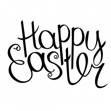 Happy easter phrase isolated on white background. For your festive design, announcements, greeting cards, posters.