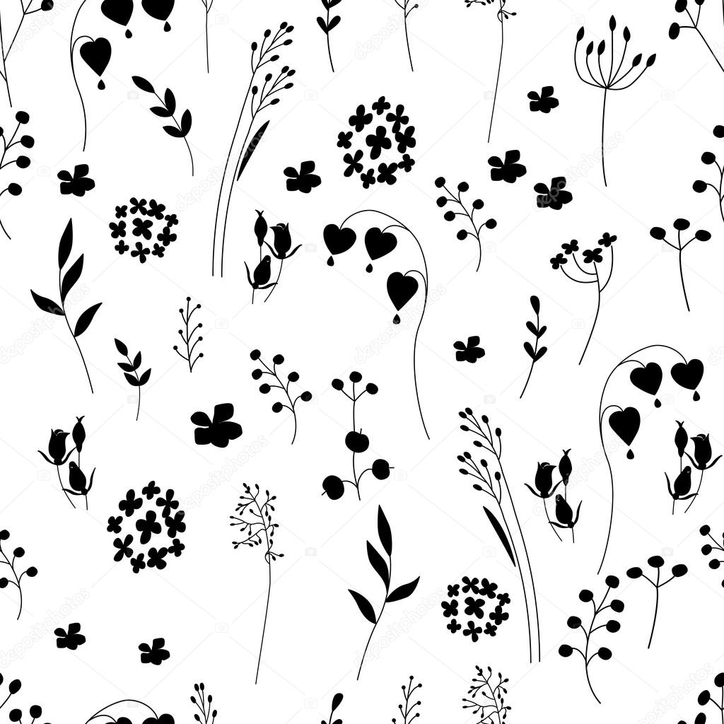 Seamless Pretty Pattern With Stylized Flowers And Herbs Black And