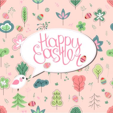 Greeting card with phrase Happy easter and spring trees. Template for your festive design, announcements, greeting cards, posters, advertisement. Background is seamless.