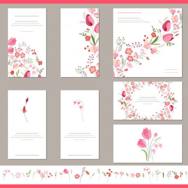 Floral spring templates with cute bunches of red tulips. Endless horizontal pattern brush. For romantic and easter design, announcements, greeting cards, posters, advertisement.