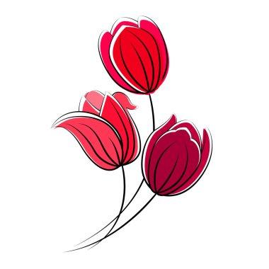 Stylized red tulips isolated on white background
