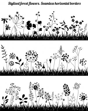 Seamless horizontal borders with stylized growing plants. Black  silhouette. Endless textures for your design, romantic greeting cards, announcements, posters. icon