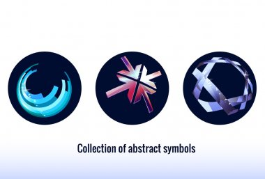 Stylized abstract icons. Blue  color. Abstract symbols for your design. icon