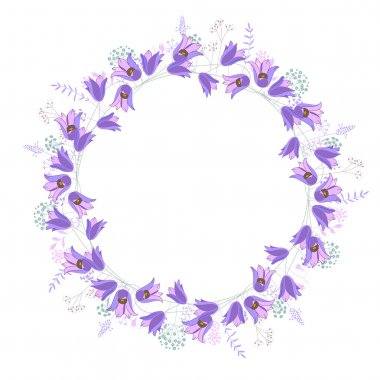Round frame with contour blue flowers on white