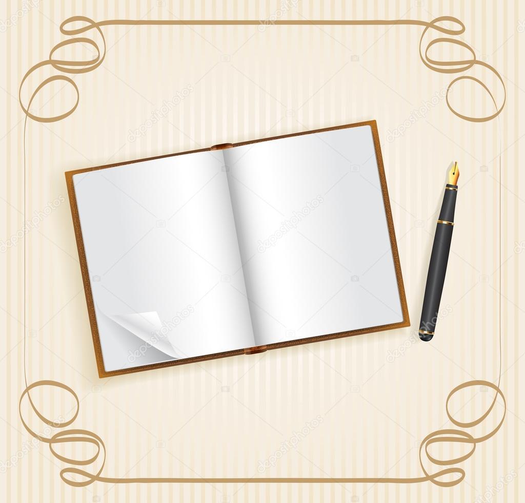 Libro abierto con espacio vacío para texto y pluma — Archivo ...