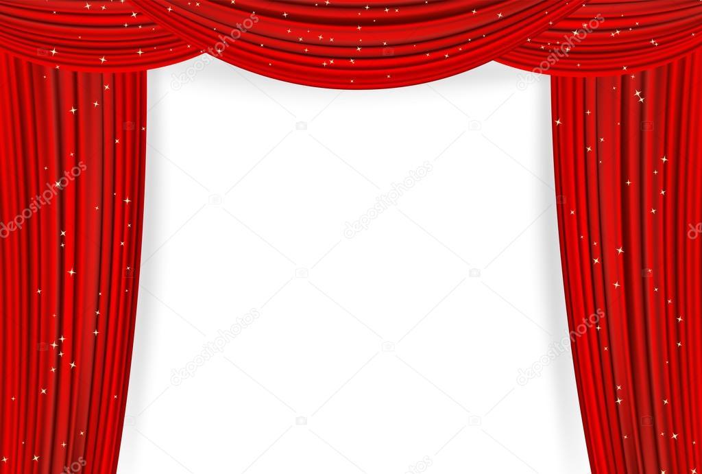 Open rode gordijnen met sterren op een witte achtergrond. Theater of ...