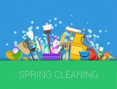Spring cleaning background. Set of cleaning supplies. Tools of h