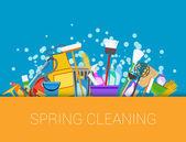 Fényképek Tavaszi nagytakarítás a háttérben. A takarítási készletek beállítása