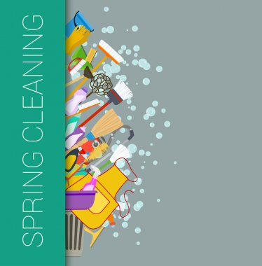 Spring cleaning vertical border background. Cleaning supplies