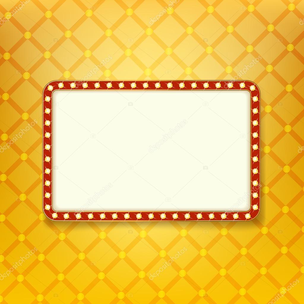 Bandera de luz brillante. Marco retro dorado con luces de neón ...