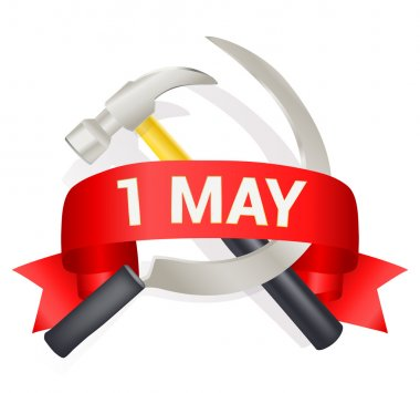 1st may day greeting illustration with hammer and sickle and a b