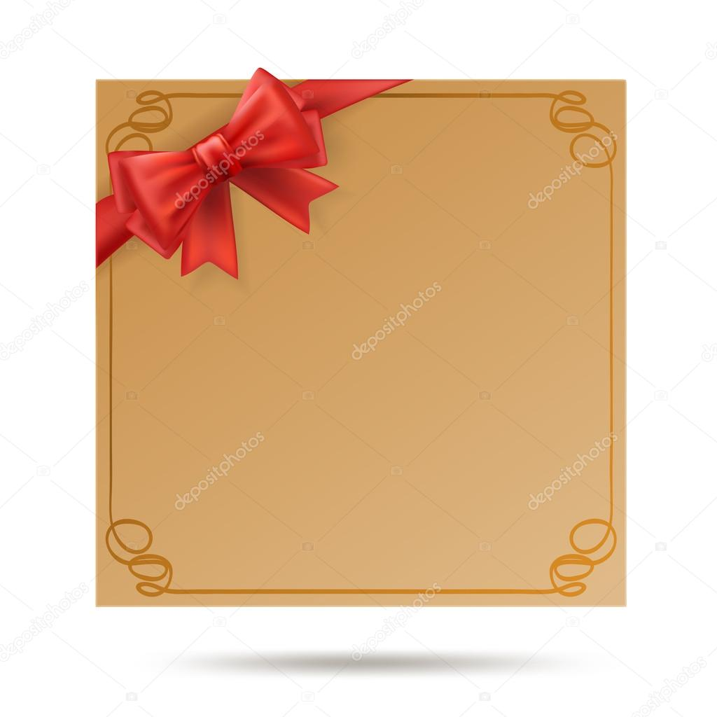 Gift Card With Golden Swirl Frame And Red Ribbon Red Bow Decora