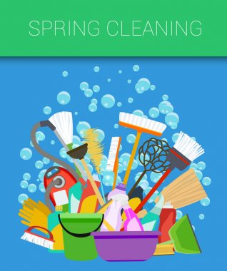Spring cleaning background. Tools of housecleaning. Vector