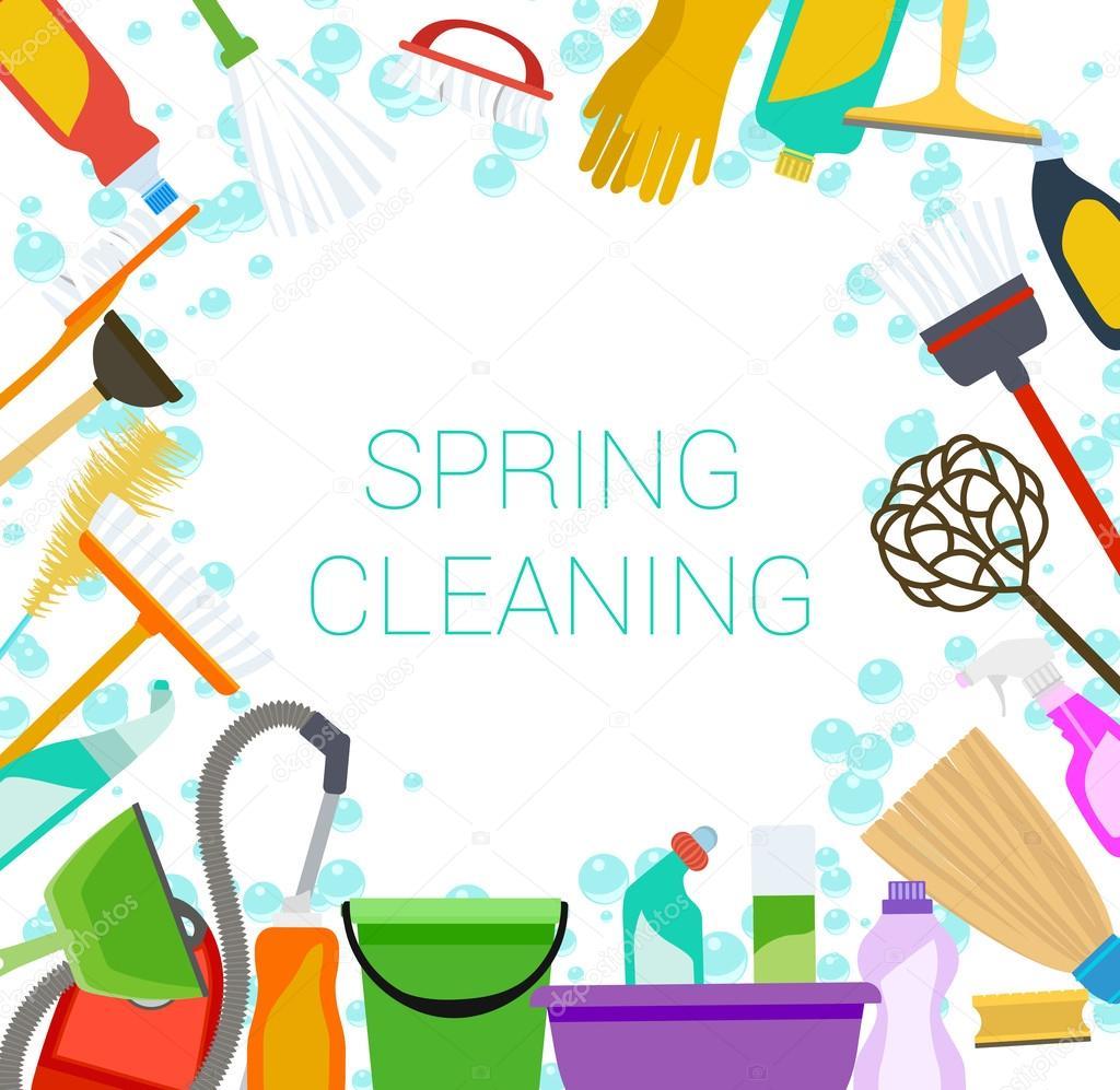 Limpieza de primavera suministra el marco en blanco herramientas de ...