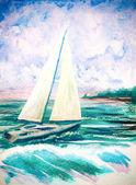 ručně malované akvarel ilustrace s mořských vln a plachetnice