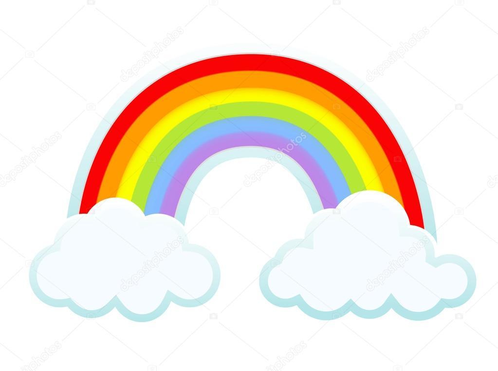 Фон: радуга облака | фон с облаками и радуга. вектор ...