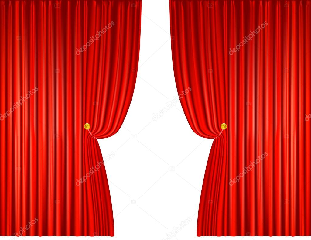 rode gordijnen open met touwen vectorillustratie stockvector