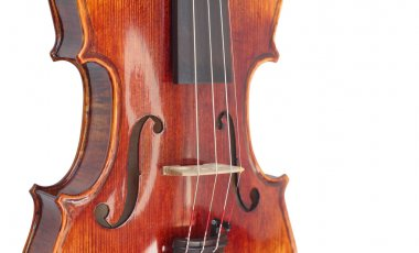 violin close-up photo isolated on white