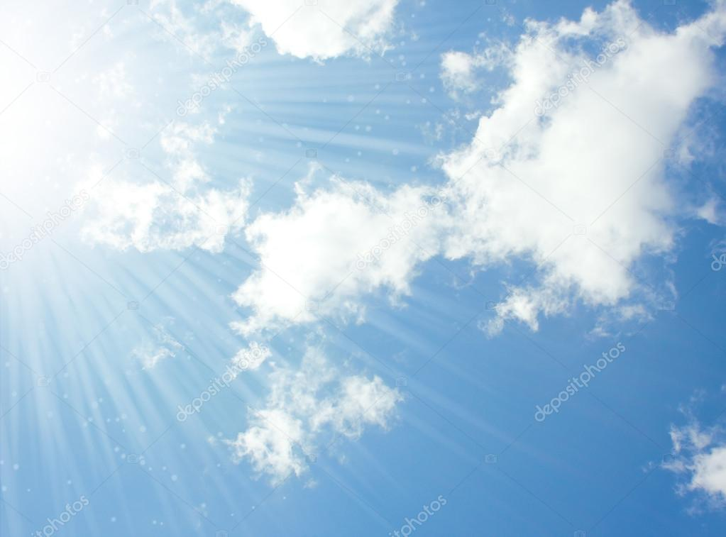 natural background with rays in the sky and clouds